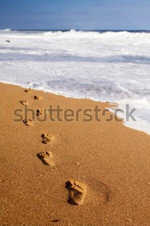 足跡 海 人間 テクスチャ ストックフォト © avdveen