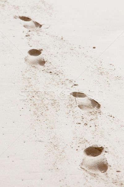 Négy lábnyomok emberi tengerparti homok vezető tengerpart Stock fotó © avdveen
