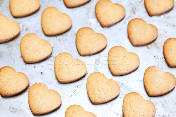 Home made shortbread heart shaped cookies on baking tray Stock photo © avdveen