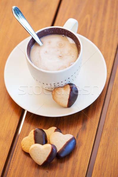 Кубок кофе сердце Печенье служивший Сток-фото © avdveen