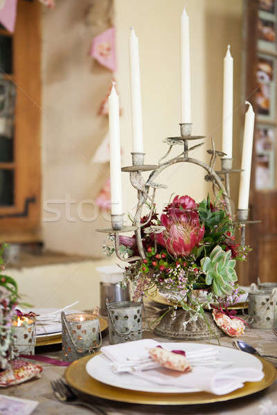 Wedding reception decor details, flowers and table centrepiece Stock photo © avdveen