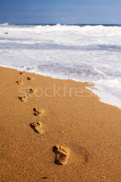 Ayak izleri deniz insan uzak doku Stok fotoğraf © avdveen