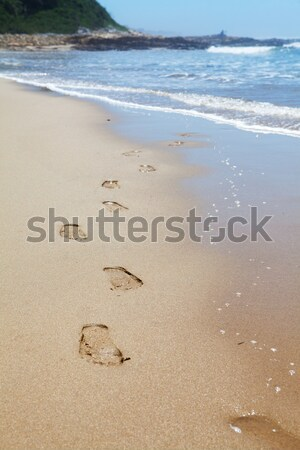 Human footprints on the beach sand leading towards the viewer Stock photo © avdveen