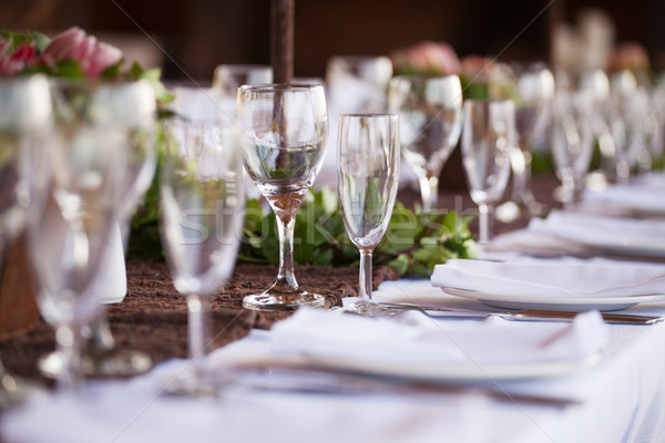 Wine and champagne glasses on table. Selective focus Stock photo © avdveen