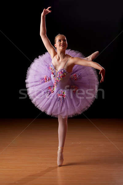 Young ballerina in studio practising Stock photo © avdveen