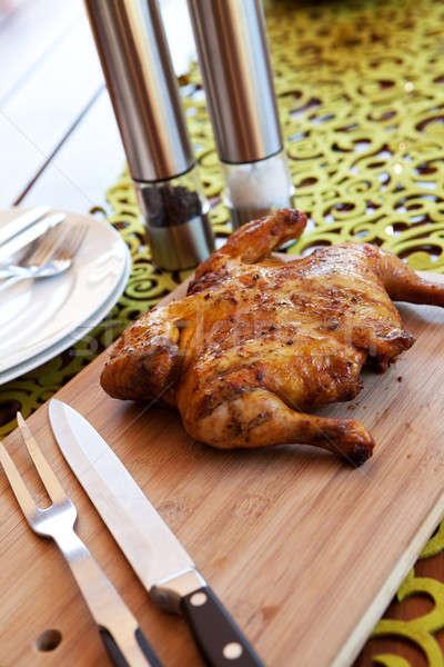 全体 鶏 カトラリー スパイス バーベキュー 木製 ストックフォト © avdveen