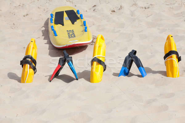 Bright yellow flotation devices and rescue equipment Stock photo © avdveen