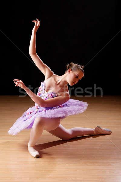 十代の少女 バレエ スタジオ 白人 木製 ストックフォト © avdveen