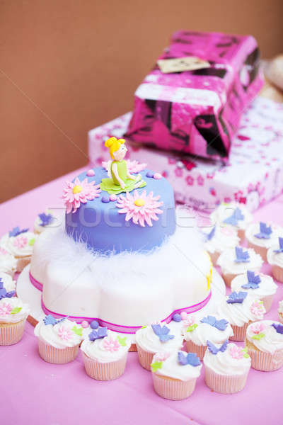 Decorated birthday cake for a little girl Stock photo © avdveen