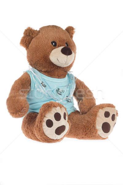 Teddybeer Blauw shirt geïsoleerd witte baby Stockfoto © AvHeertum