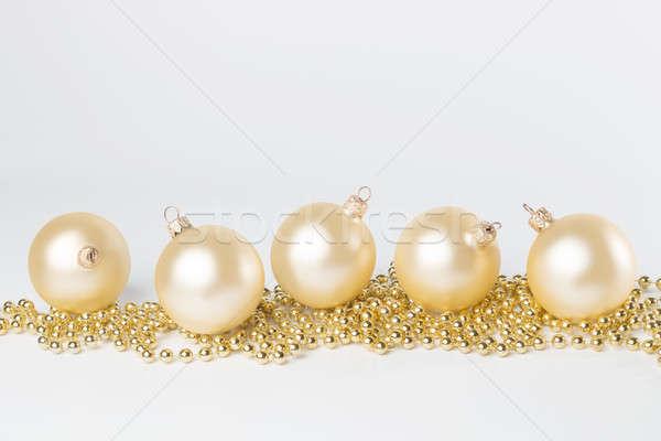 Altın sarı Noel yalıtılmış beyaz Stok fotoğraf © AvHeertum