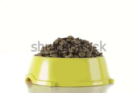 Dog food in yellow bowl, white studio background Stock photo © AvHeertum