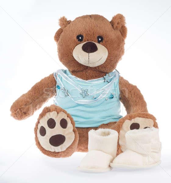 Teddybeer Blauw shirt lint geïsoleerd schoenen Stockfoto © AvHeertum