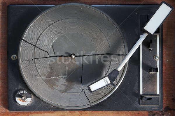 Eski oyuncu teknoloji siyah Retro döner tabla Stok fotoğraf © Avlntn