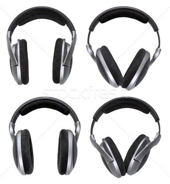 Cuffie set isolato bianco speaker nero Foto d'archivio © Avlntn