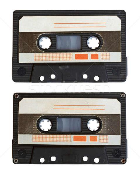 аудио кассету изолированный белый сторона черный Сток-фото © Avlntn