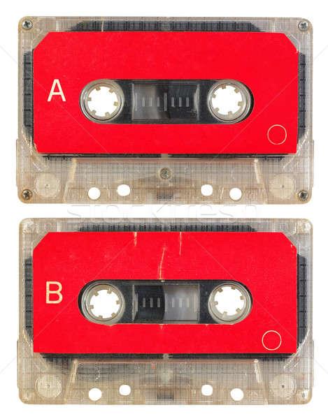オーディオ カセット 孤立した 白 サイド 赤 ストックフォト © Avlntn