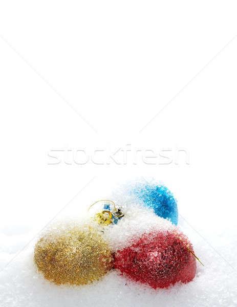 ストックフォト: クリスマス · 雪 · カバー · 青 · 白