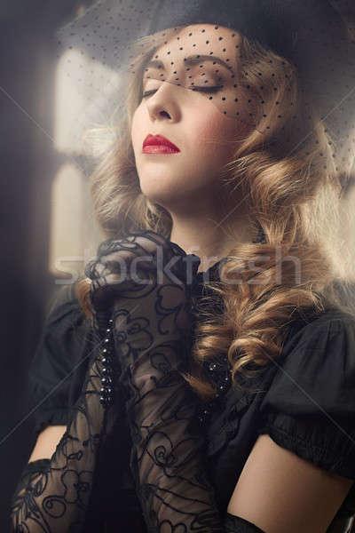 祈っ ブロンド 女性 美しい ヴィンテージ スタイル ストックフォト © Avlntn