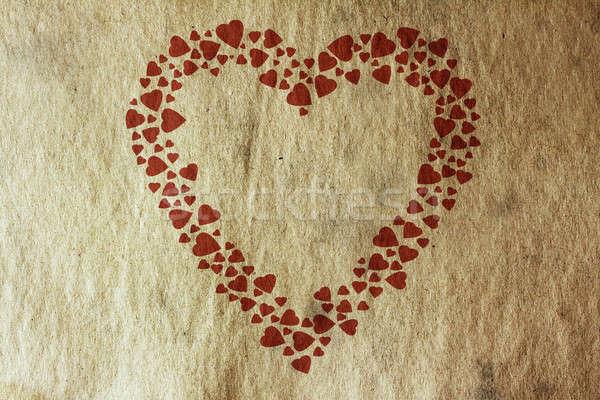Bağbozumu kalp Eski kağıt doku kâğıt boya Stok fotoğraf © Avlntn