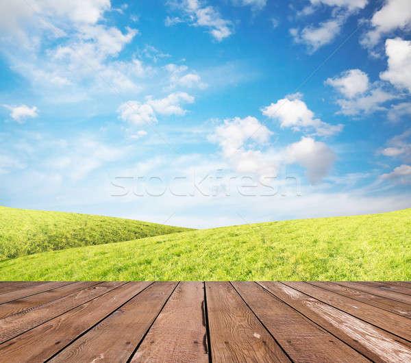 ストックフォト: 草 · 空 · 階 · 緑の草 · 青空