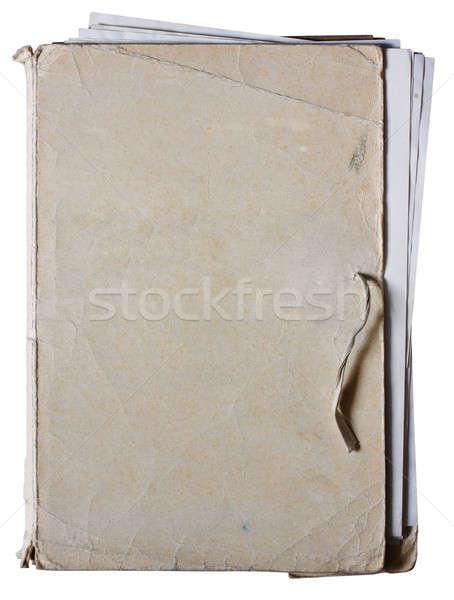 старые папке документы изолированный белый Сток-фото © Avlntn