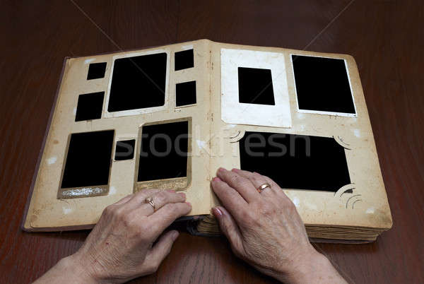 Vintage рук старые книга древесины Сток-фото © Avlntn