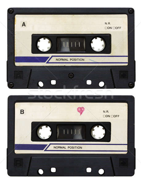 Audio cassette isolato bianco lato scuola Foto d'archivio © Avlntn
