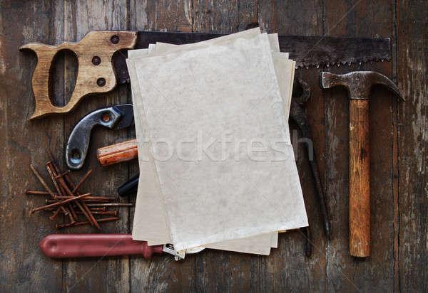 Strumenti vecchia carta legno muro legno Foto d'archivio © Avlntn