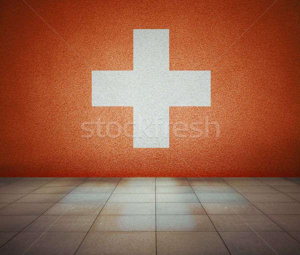 フラグ の空室 スイス 壁 スタジオ 家 ストックフォト © Avlntn