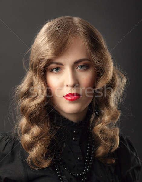 ブロンド 女性 ヴィンテージ 肖像 美しい スタイル ストックフォト © Avlntn