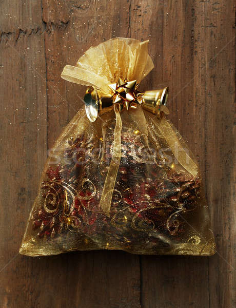 クリスマス 袋 贈り物 木製 壁 ドア ストックフォト © Avlntn