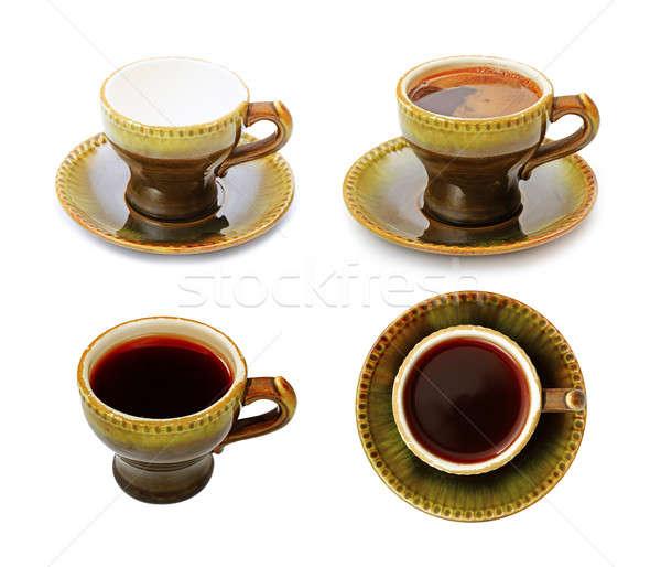 Vintage Кубок кофе набор зеленый кафе Сток-фото © Avlntn