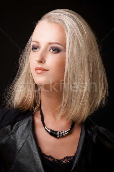 portrait of blond woman with smokey eyes make up Stock photo © Avlntn