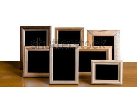 ストックフォト: ヴィンテージ · 木製 · 写真 · フレーム · 白 · 反射