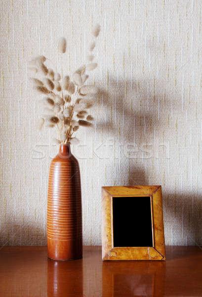 Tablo bağbozumu ahşap çerçeve büro iç Stok fotoğraf © Avlntn