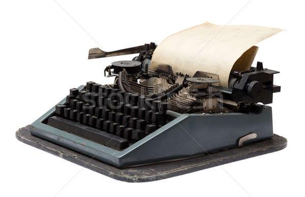 Vintage schrijfmachine papier geïsoleerd witte technologie Stockfoto © Avlntn