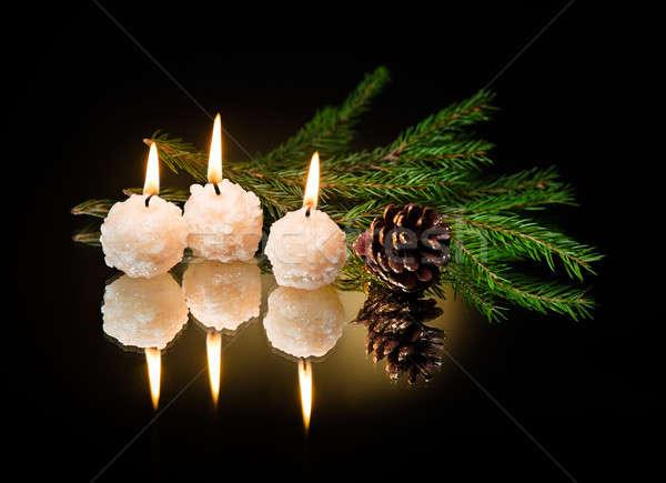 Natale candele buio albero fuoco verde Foto d'archivio © Avlntn