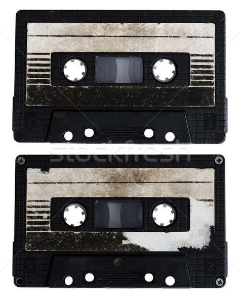 オーディオ カセット 孤立した 白 サイド 黒 ストックフォト © Avlntn