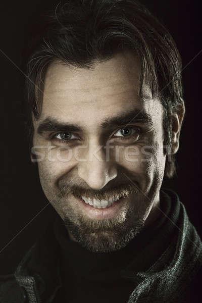 Tehlikeli adam portre moda ağız Stok fotoğraf © Avlntn
