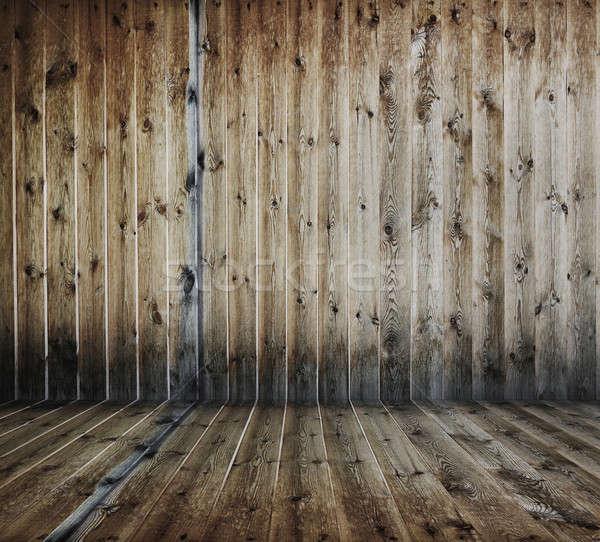 Fából készült öreg grunge belső fal szoba Stock fotó © Avlntn