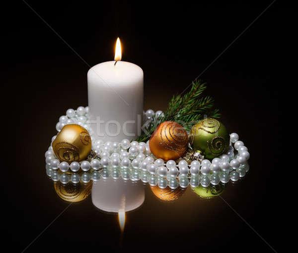 Christmas kaars donkere boom brand glas Stockfoto © Avlntn
