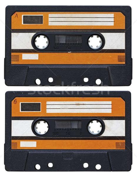 Audio kaseta odizolowany biały strona technologii Zdjęcia stock © Avlntn