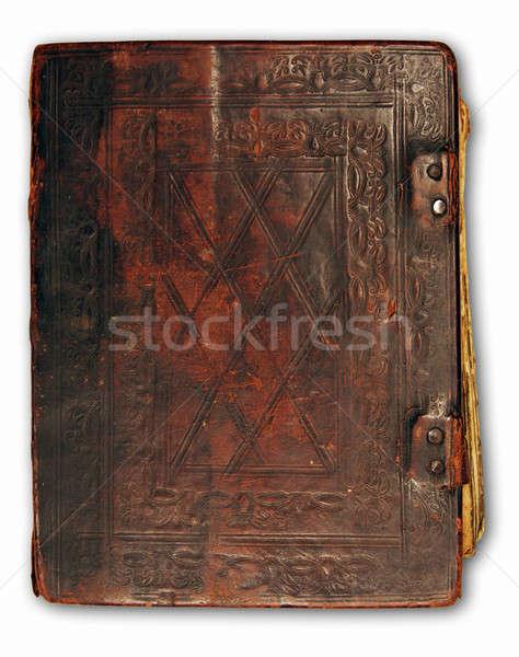 кожа охватывать антикварная книга изолированный белый Сток-фото © Avlntn
