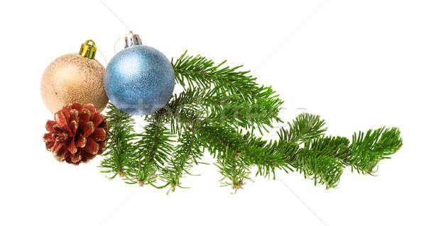 Stock fotó: Karácsony · dekoráció · izolált · fehér · fa · háttér