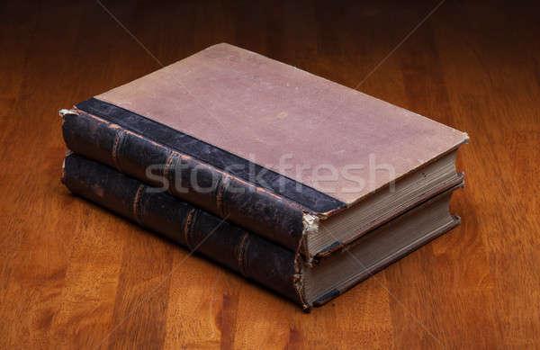古い 図書 木製のテーブル 紙 背景 教育 ストックフォト © Avlntn