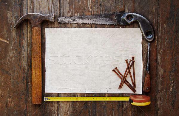 Tools papier houten muur hout werk Stockfoto © Avlntn