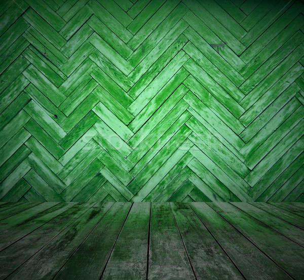 öreg zöld szoba fából készült fal színpad Stock fotó © Avlntn