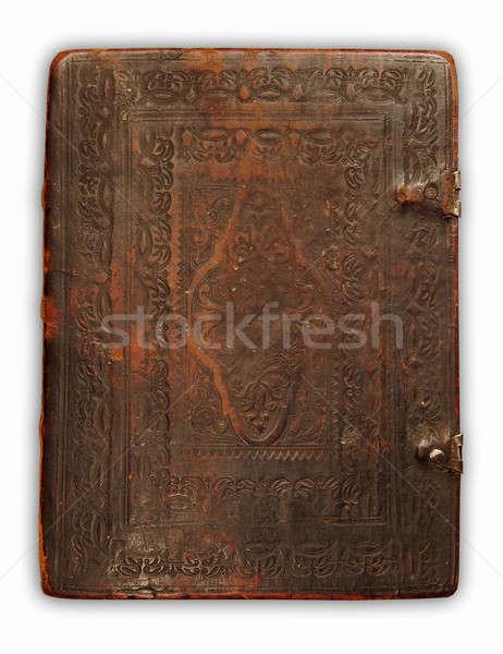 Kapak bağbozumu kitap deri antika yalıtılmış Stok fotoğraf © Avlntn