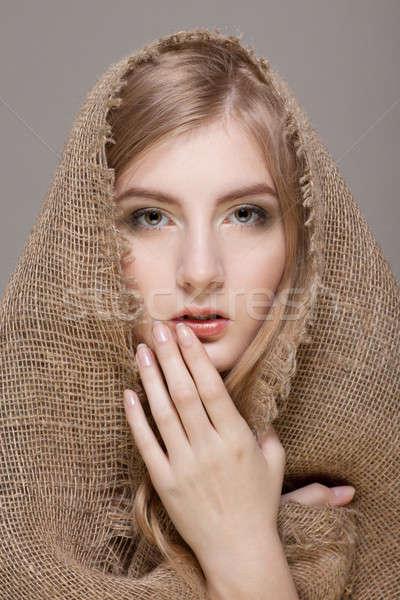 女性 スカーフ 美しい ブロンド 頭 目 ストックフォト © Avlntn